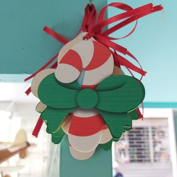 Picture of SUGAR STICK ORNAMENT WITH RIBBON